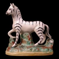 Antique Staffordshire Pottery Zebra Statue Figure Group Sculpture Horse Ware