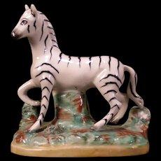 Antique Staffordshire Pottery Zebra Statue Figure Group Sculpture Horse Ware