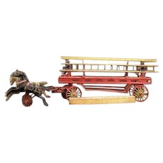 BIG 19c Wilkins Tin Wood Cast Iron Hook Ladder Fire Truck Animal Horse Drawn Toy