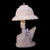 Vintage Blue Depression Glass Boudoir Lamp Lady Harp Bell Shade Figure