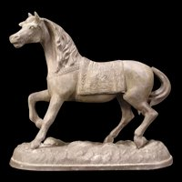 Antique Spelter Horse Mantle Clock Top Sculpture Statue Figure Stallion Pony
