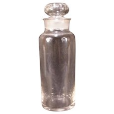 1800's Blown Glass Polished Pontil Apothecary Jar Drug Store Storage Cut Stopper