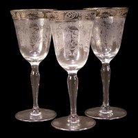 3 1930's Stem Ware Springtime Etch Lotus Glass Cupid Venus Morgantown Wine Goblet