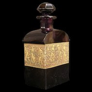 1910 Moser Karlsbad Cut Amethyst Glass OROPLASTIC Frieze Cologne Perfume Bottle