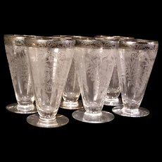 6 Vintage 30s Goblet StemWare Springtime Etch Lotus Glass Cupid Venus Morgantown