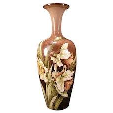 19 c STUNNING Doulton Pottery Lambeth Faience Mary Butterton Floral Vase Burslem