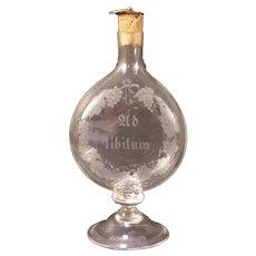 1787 Apothecary Flask Cut Etch Glass Chemist Medicine Doctor Bottle Pharmacy Jar