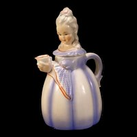 Vintage Erphila E & R German Pottery Figure Coffee Tea Pot Woman Lady Pitcher