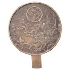 Antique Bronze Chinese Asian Oriental Sculpture Hand Fan Tray Holder Plaque Art