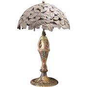 1910 Art Craft Iris High Relief Fulper Faience Pottery Bronze Lamp Shade Light Leaf