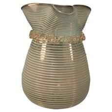 Rare 1890 Stevens Williams SKY BLUE Threaded Art Glass Rigaree Blown Flower Vase