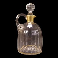 1800's ALL HAND BLOWN Cut  Glass French Crystal Cruet Syrup Bottle Jug