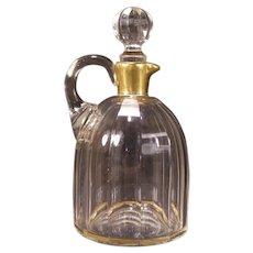 1800's ALL HAND BLOWN Cut  Glass French Crystal Cruet Syrup Bottle Jug