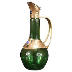 1910 Art &Craft Nouveau Jeweled Copper Iridescent Glass Ewer Bottle Decanter Urn
