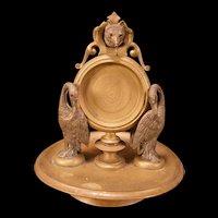 1800's Bronze Heron Crane Stork Fox JEWEL GARNET EYES Pocket Watch Holder Figure