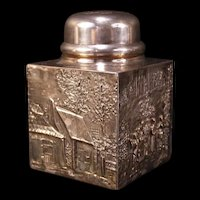 Antique Tea Caddy Embossed Repousse Jar Silver Spice Box Snuff Canister Scenic