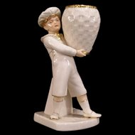 1866 Royal Worcester Porcelain Figurine Statue Vase Boy Basket Match Holder Safe