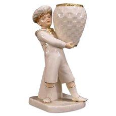 1866 Royal Worcester Porcelain Figurine Statue Vase Boy Basket Match Holder Safe
