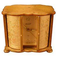 Vintage 50's Tissot Scenic Swiss Jeweled Travel Alarm Case Clock 2 Door Cabinet