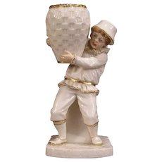 1866 Royal Worcester Porcelain Figurine Statue Vase Match Holder Safe Figure HTF
