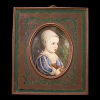 1800's Victorian Bronze Inlaid Marquetry Frame Oil Painting Portrait Board Girl w/ Ball