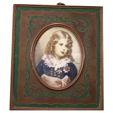 1800's Victorian Bronze Inlaid Marquetry Frame Oil Painting Portrait Boy Military Medal