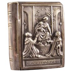 Antique Silver Religious Figure Bible Book Rosary Pill Snuff Trinket Jewelry Box