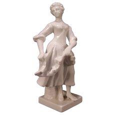 Antique Ginori Parian Porcelain Lady Statue Dancer Figure Woman Sculpture