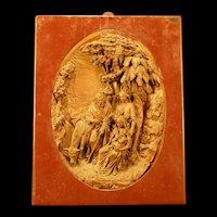 1800's Bronze Clad Bas Relief Angel Religious Figure Sculpture Portrait Plaque