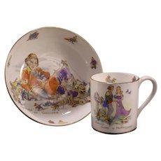 30's Nursery Rhyme Hammersley Bone China Porcelain Cup Plate & Saucer Gulliver
