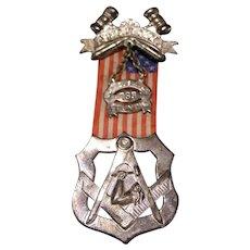 1892 JR OUAM Medal Badge Ribbon SILVER National Council Masonic Flag Fraternal
