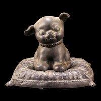 Vintage Cast Iron Hubley Fido Puppy Pillow Dog Terrier Still Coin Bank Doorstop