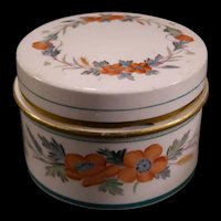 19 c Minton Ironstone Painted Floral Porcelain Pot Lid Tooth Paste Cream Jar Pin