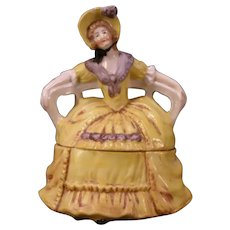 Antique German Porcelain Figural Girl Dresser Jewelry Trinket Box Doll Statue