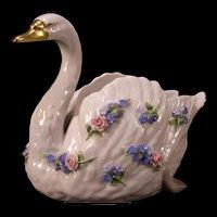 19 c Schierholz Germany Porcelain Goose Swan Figure Planter Statue Vase Flower
