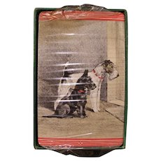 1920s wire-haired fox terrier Dog Playing Cards ORIGINAL Tax Stamp & Box