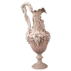 19c Parian Ware Porcelain Ewer Urn Wall Plaque High Relief Grape Vine Neoclassical