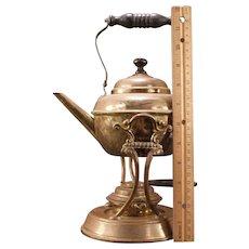 1892 Brass Samovar Coffee Kettle o Stand Tilt Tea Hot Water Pot Burner Wood Iron