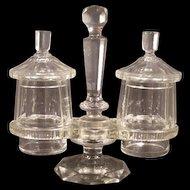 19c Victorian Boston Sandwich Cut Glass Crystal Double Pickle Castor Condiment Jar