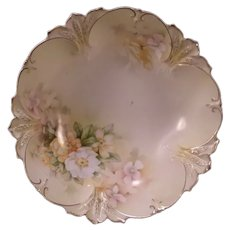 Antique RS Prussia Red Mark Porcelain Center Piece Bowl Wild Rose Floral Relief