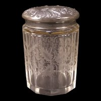 1800's Intaglio Cut Glass Biscuit Repousse Silver Humidor Jar Cigar Box Cracker