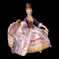 Antique Volkstedt German Porcelain Girl Figure Woman Sofa Statue Sculpture