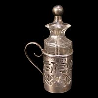 Early 1900's Antique Henry Williamson Sterling Silver Condiment Mustard Jar Glass Bottle