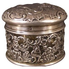 19th c German Sterling Silver Vanity Powder Jar Dresser Box Storck & Sinsheimer