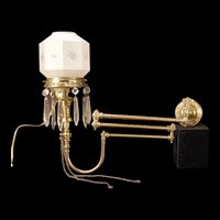 19c Ornate Brass 3 Arm Cut Prism Sconce Electrified Gas Shade Lamp Light Fixture