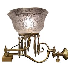 19th c Extendable Arm Cut Prism Sconce Electrified Gas Shade Lamp Light Fixture