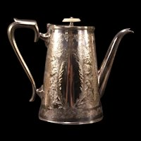 19th c Victorian Cooper Bros Silver Floral Chase Work Tea Pot Coffee Kettle MOP