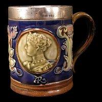 Early 1900's Art Crafts Coronation Mug Majolica Doulton Lambeth Sterling Silver Portrait