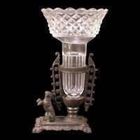 19c Cut Flint Glass Crystal Dog Statue Figure Bud Spill Flower Vase Posey Holder