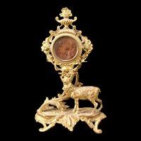 19 c French Ormolu Gilt Bronze Stag Figure Statue Sulpture Shelf Mantle Clock Lg